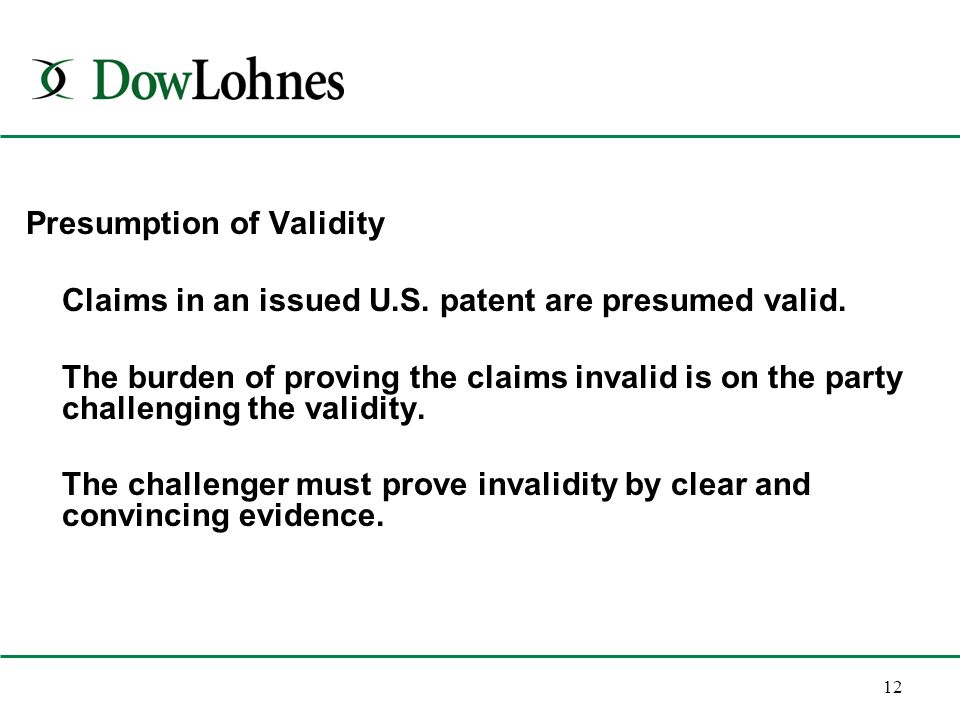 12 Presumption of Validity Claims in an issued U.S.
