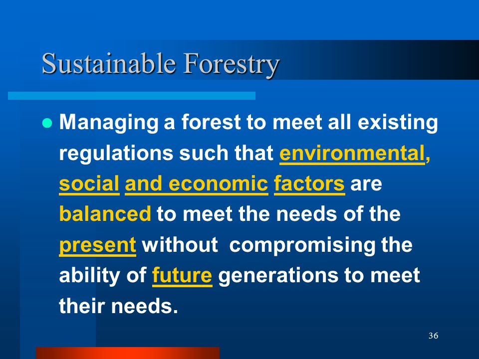 36 Sustainable Forestry Managing a forest to meet all existing regulations such that environmental, social and economic factors are balanced to meet the needs of the present without compromising the ability of future generations to meet their needs.