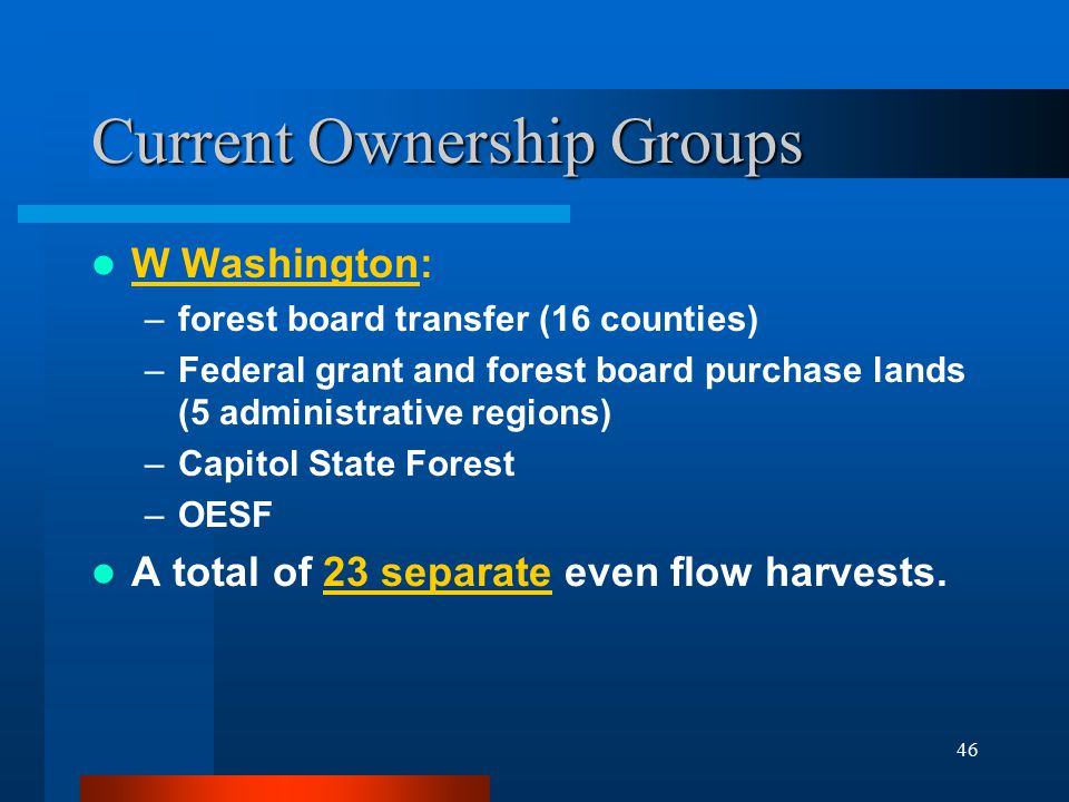 46 Current Ownership Groups W Washington: –forest board transfer (16 counties) –Federal grant and forest board purchase lands (5 administrative regions) –Capitol State Forest –OESF A total of 23 separate even flow harvests.