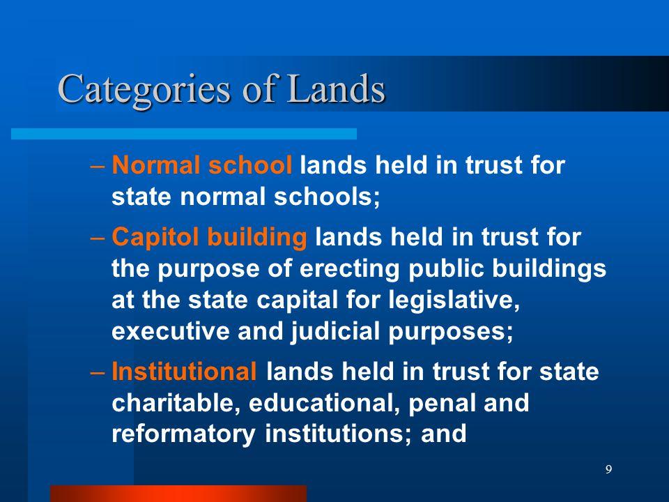 9 Categories of Lands –Normal school lands held in trust for state normal schools; –Capitol building lands held in trust for the purpose of erecting p