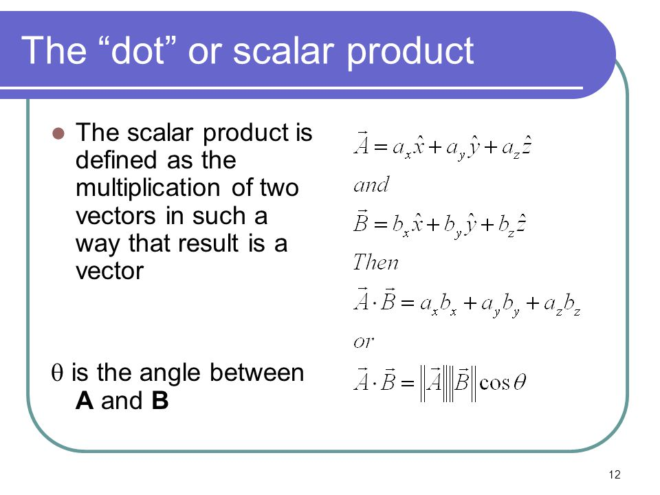 "12 The ""dot"" or scalar product The scalar product is defined as the multiplication of two vectors in such a way that result is a vector  is the angle"