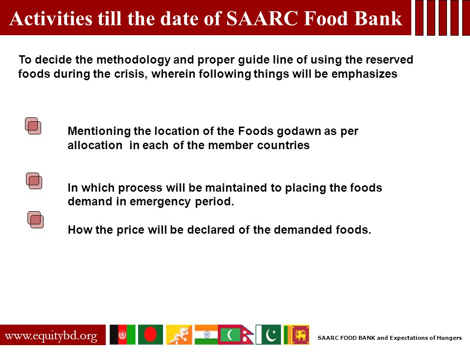 Activities till the date of SAARC Food Bank www.equitybd.org To decide the methodology and proper guide line of using the reserved foods during the cr