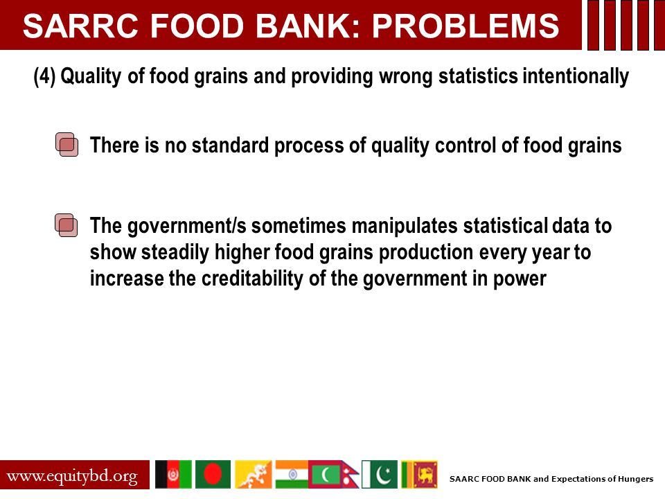 SARRC FOOD BANK: PROBLEMS There is no standard process of quality control of food grains The government/s sometimes manipulates statistical data to show steadily higher food grains production every year to increase the creditability of the government in power www.equitybd.org (4) Quality of food grains and providing wrong statistics intentionally SAARC FOOD BANK and Expectations of Hungers