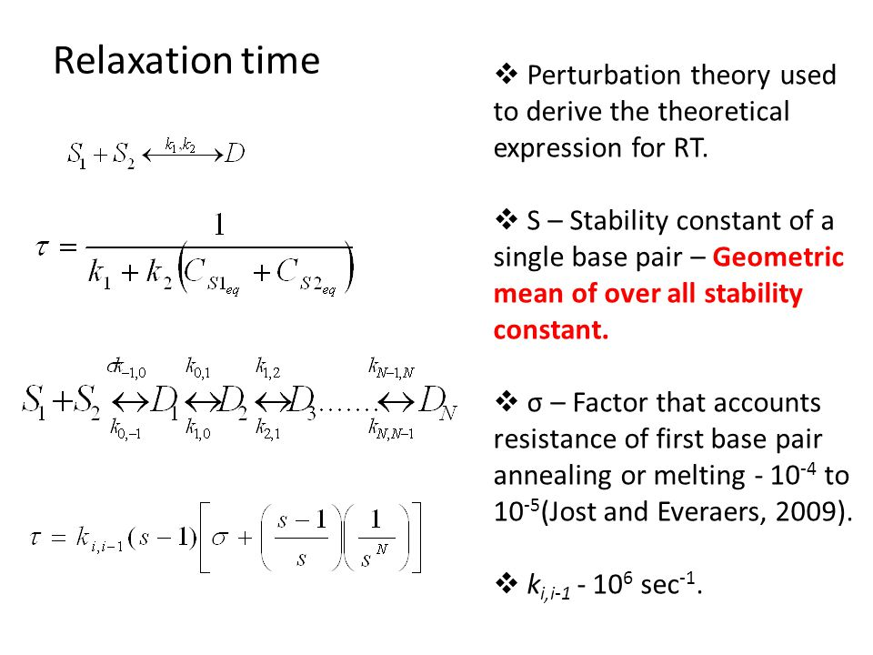 Relaxation time  Perturbation theory used to derive the theoretical expression for RT.