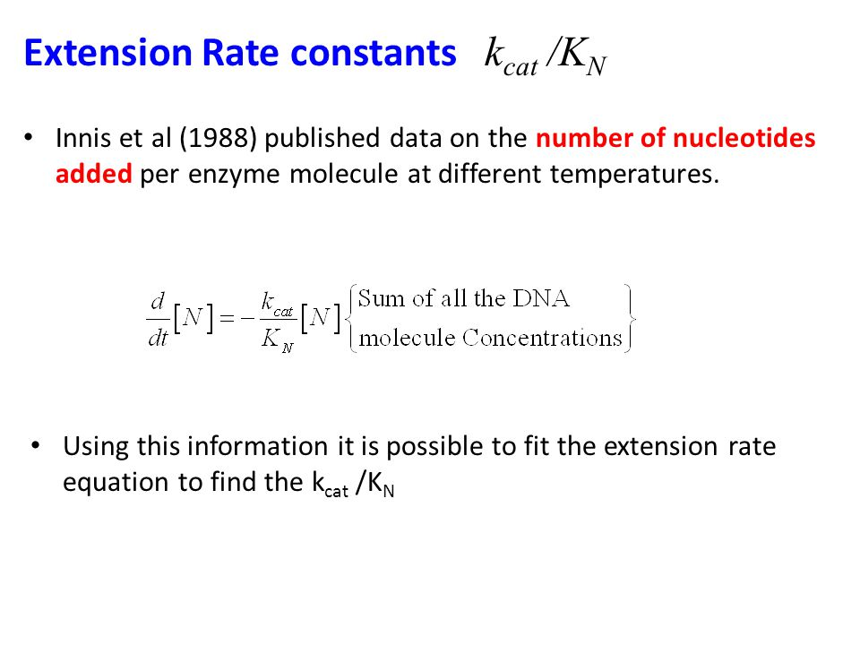 Extension Rate constants k cat /K N Innis et al (1988) published data on the number of nucleotides added per enzyme molecule at different temperatures.