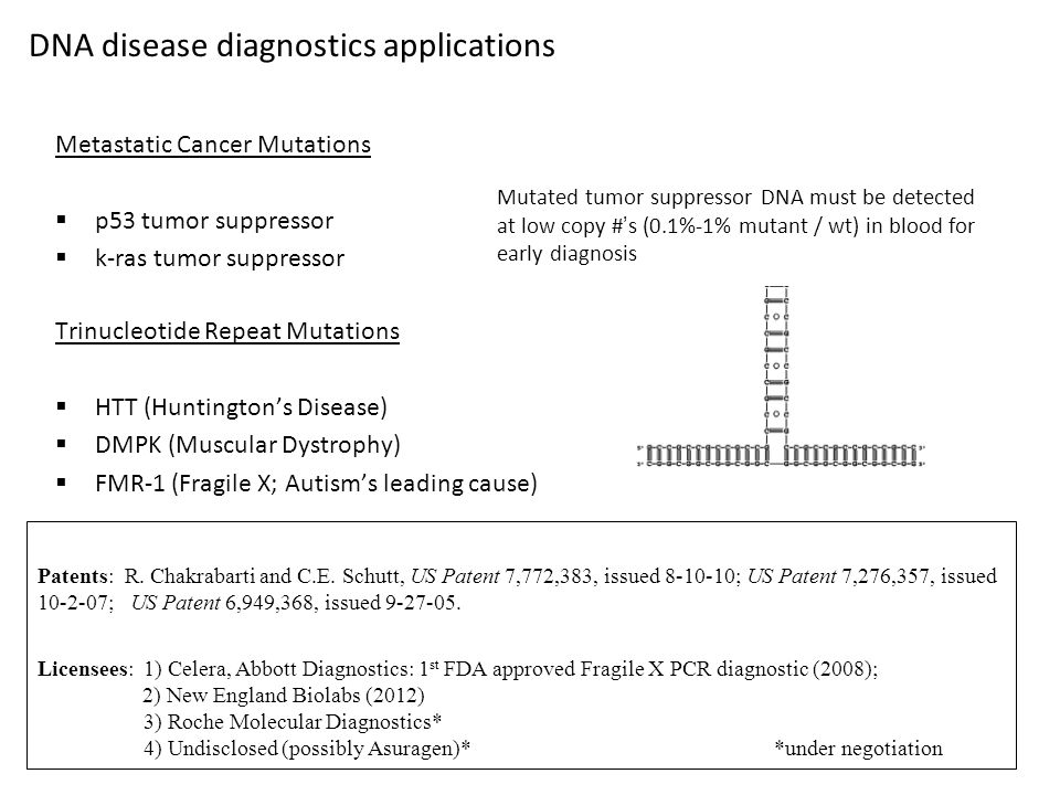 Metastatic Cancer Mutations  p53 tumor suppressor  k-ras tumor suppressor Trinucleotide Repeat Mutations  HTT (Huntington's Disease)  DMPK (Muscular Dystrophy)  FMR-1 (Fragile X; Autism's leading cause) DNA disease diagnostics applications Mutated tumor suppressor DNA must be detected at low copy #'s (0.1%-1% mutant / wt) in blood for early diagnosis Patents: R.