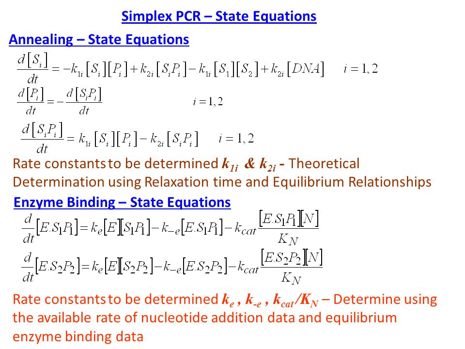 Simplex PCR – State Equations Annealing – State Equations Rate constants to be determined k 1i & k 2i - Theoretical Determination using Relaxation time and Equilibrium Relationships Enzyme Binding – State Equations Rate constants to be determined k e, k -e, k cat /K N – Determine using the available rate of nucleotide addition data and equilibrium enzyme binding data