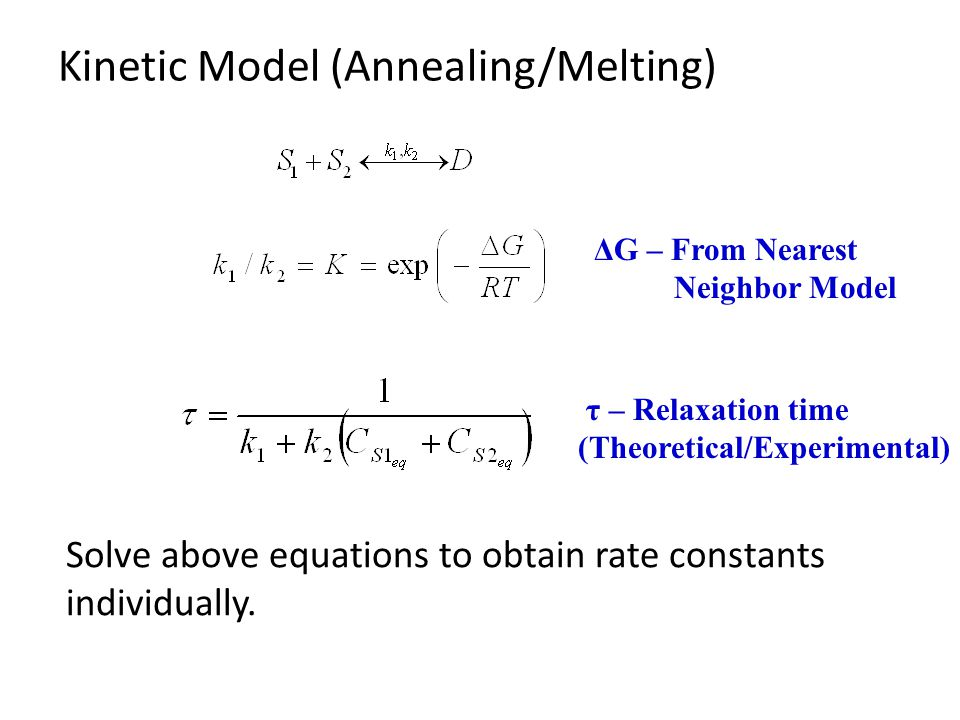 Kinetic Model (Annealing/Melting) ΔG – From Nearest Neighbor Model τ – Relaxation time (Theoretical/Experimental) Solve above equations to obtain rate constants individually.