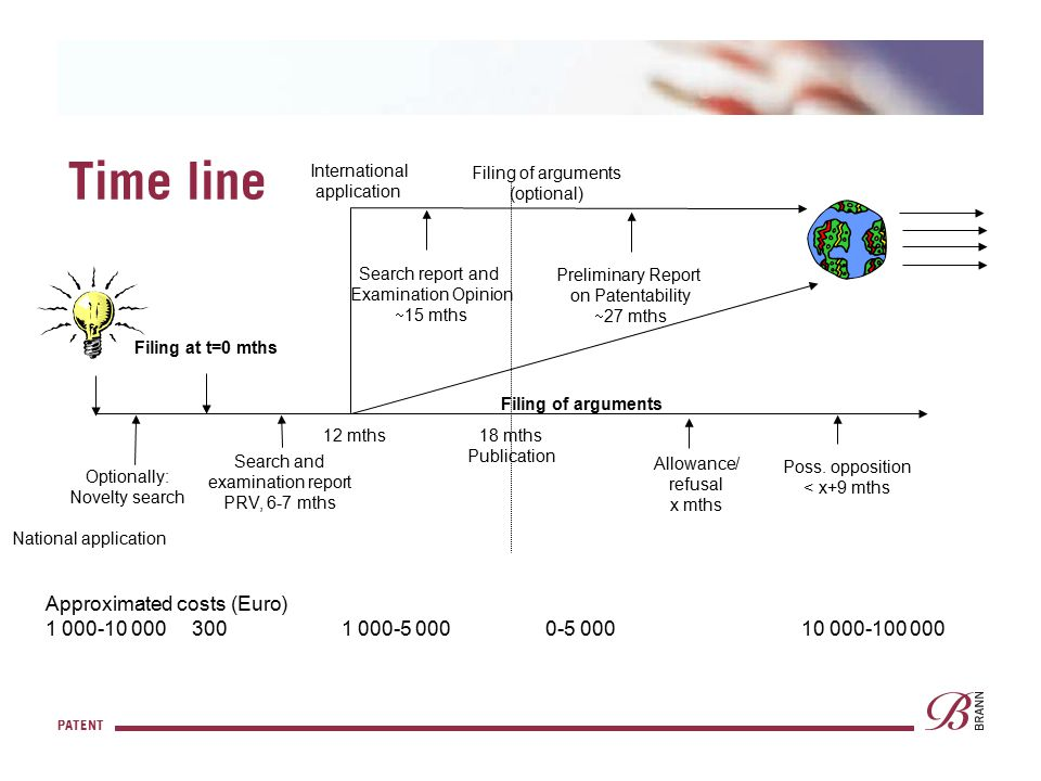 PATENT Time line Optionally: Novelty search Filing at t=0 mths Search and examination report PRV, 6-7 mths 12 mths 18 mths Publication International a