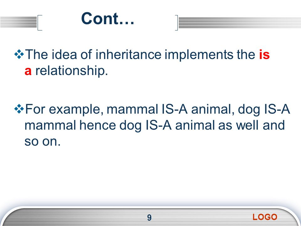 LOGO Cont…  The idea of inheritance implements the is a relationship.