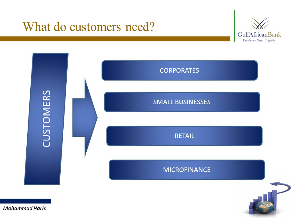 What do customers need CORPORATES SMALL BUSINESSES RETAIL CUSTOMERS MICROFINANCE