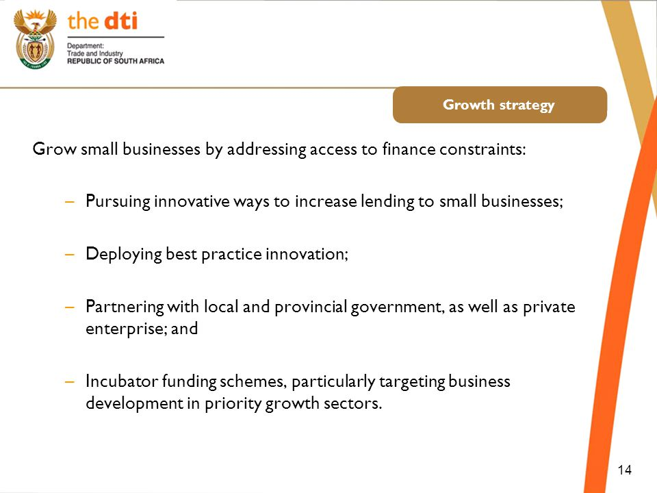 Growth strategy Grow small businesses by addressing access to finance constraints: –Pursuing innovative ways to increase lending to small businesses; –Deploying best practice innovation; –Partnering with local and provincial government, as well as private enterprise; and –Incubator funding schemes, particularly targeting business development in priority growth sectors.