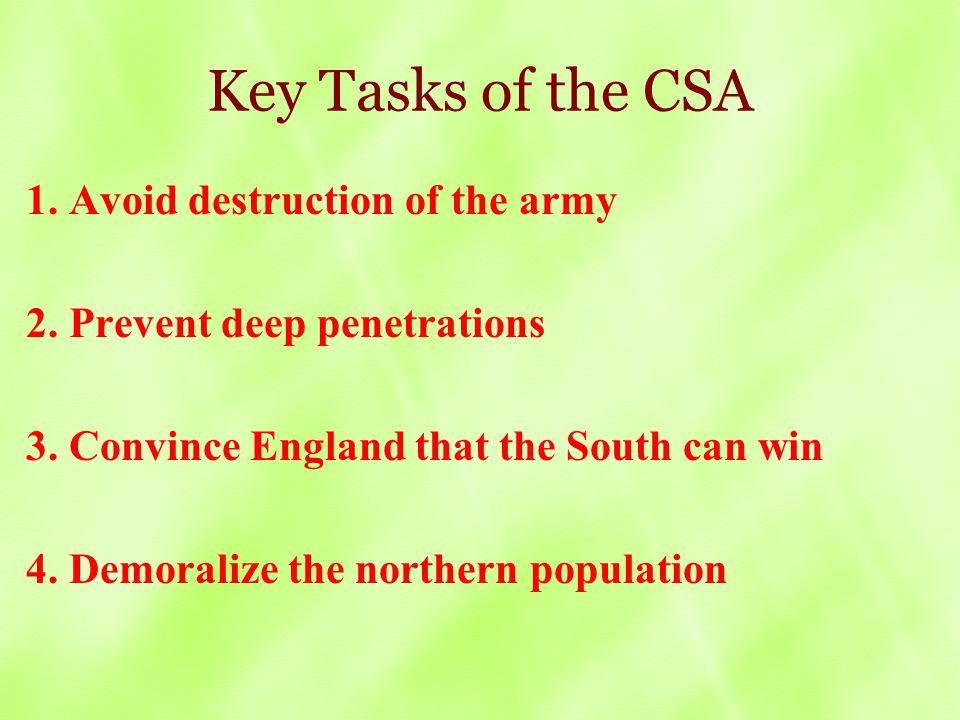 Key Tasks of the CSA 1. Avoid destruction of the army 2.