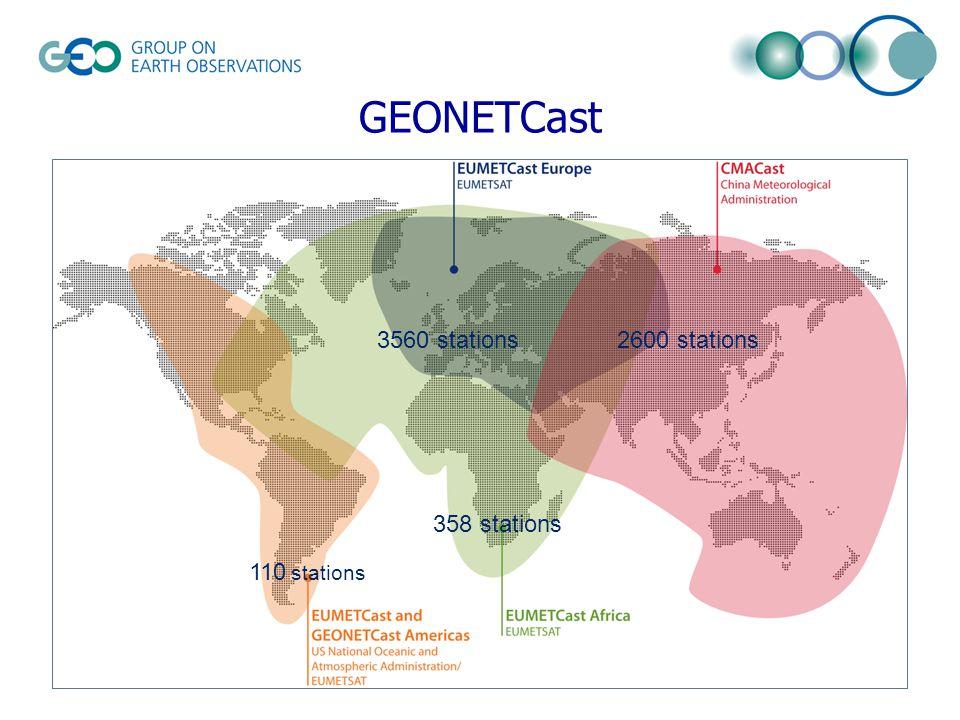 GEONETCast 3560 stations2600 stations 358 stations 110 stations
