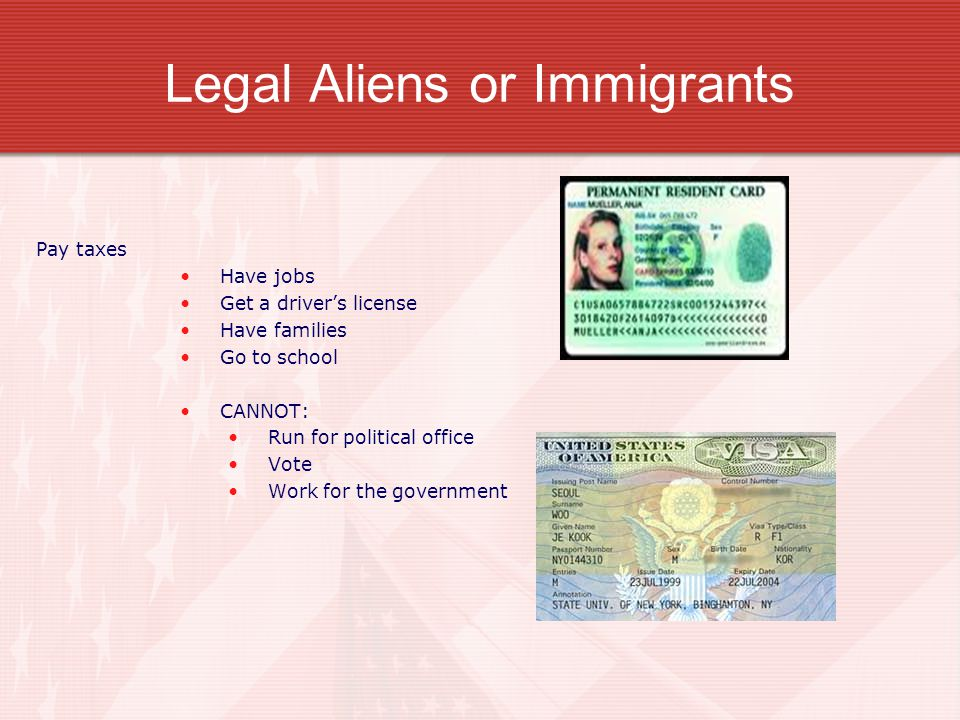 Who are the foreigners (non- citizens) living in the United States Read textbook pages 16-17 Aliens in America Legal Aliens or immigrants They have entered the country legally_ They have permission to be here permanently or temporarily They have a green card or a work or education visa If they are here temporarily, they must return when their paperwork expires.