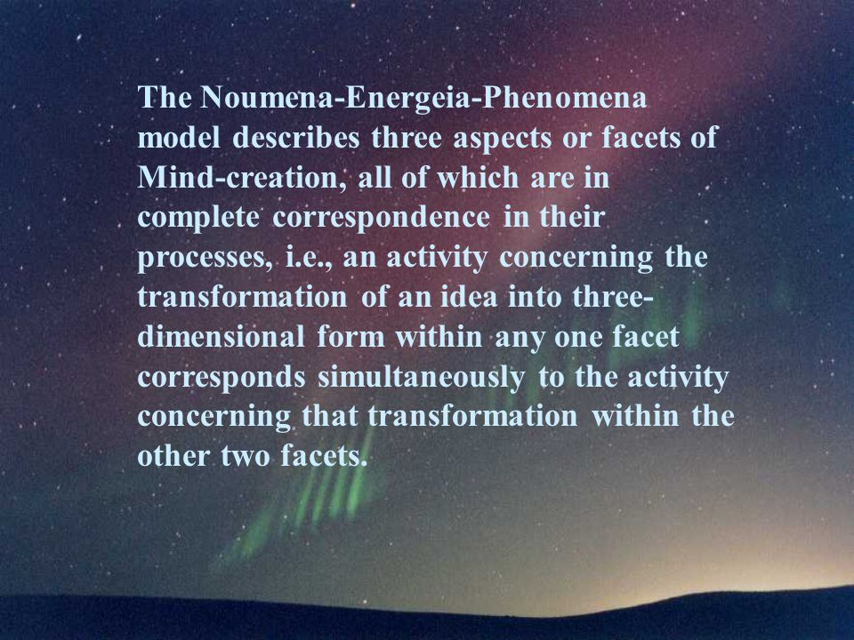 The Noumena-Energeia-Phenomena model describes three aspects or facets of Mind-creation, all of which are in complete correspondence in their processes, i.e., an activity concerning the transformation of an idea into three- dimensional form within any one facet corresponds simultaneously to the activity concerning that transformation within the other two facets.