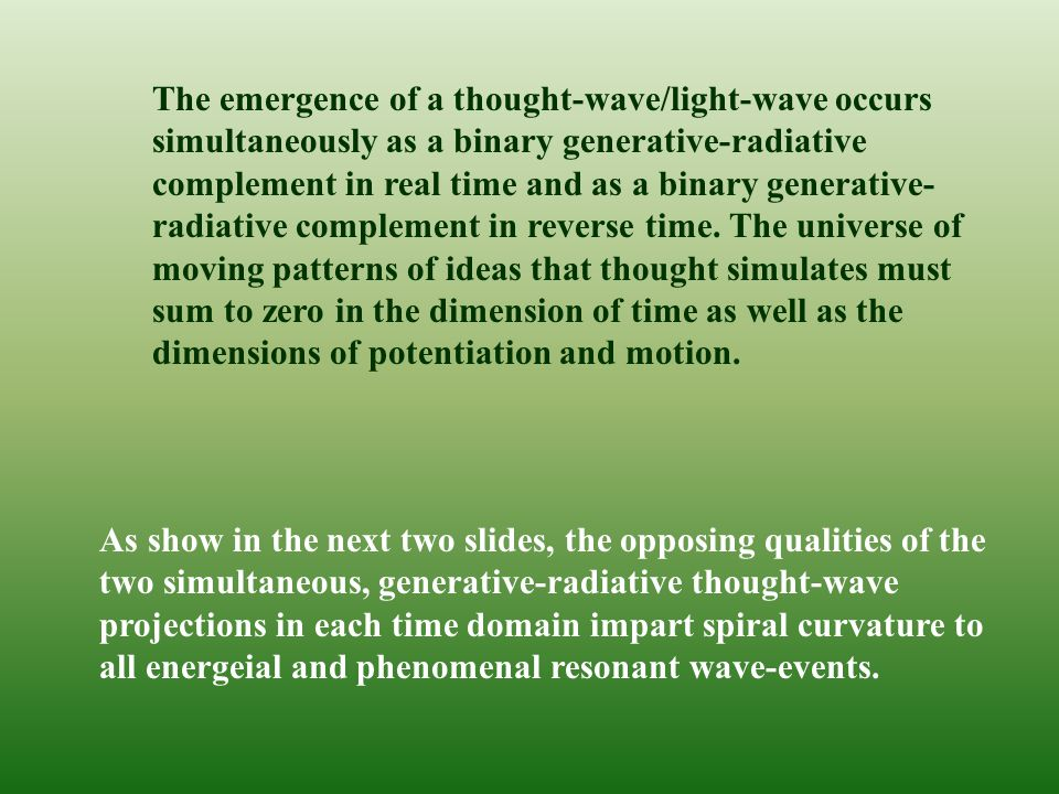 The emergence of a thought-wave/light-wave occurs simultaneously as a binary generative-radiative complement in real time and as a binary generative- radiative complement in reverse time.