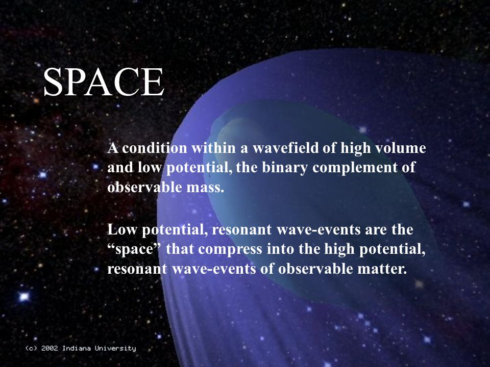 SPACE A condition within a wavefield of high volume and low potential, the binary complement of observable mass.