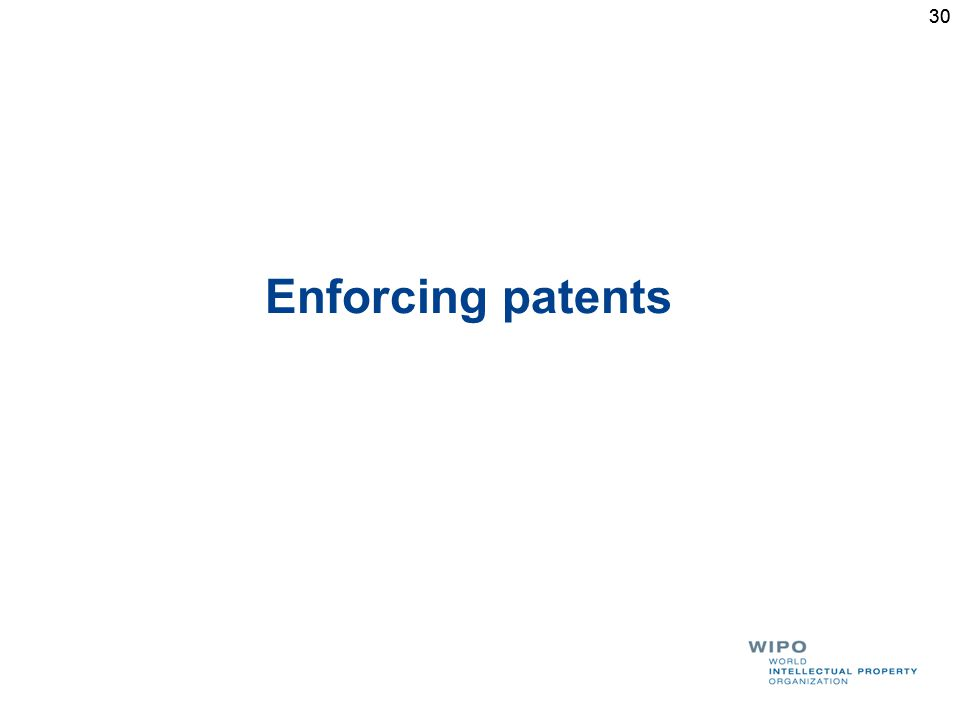 30 Enforcing patents