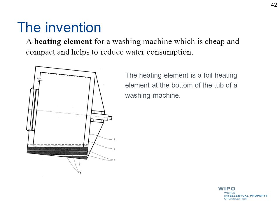 The invention A heating element for a washing machine which is cheap and compact and helps to reduce water consumption.