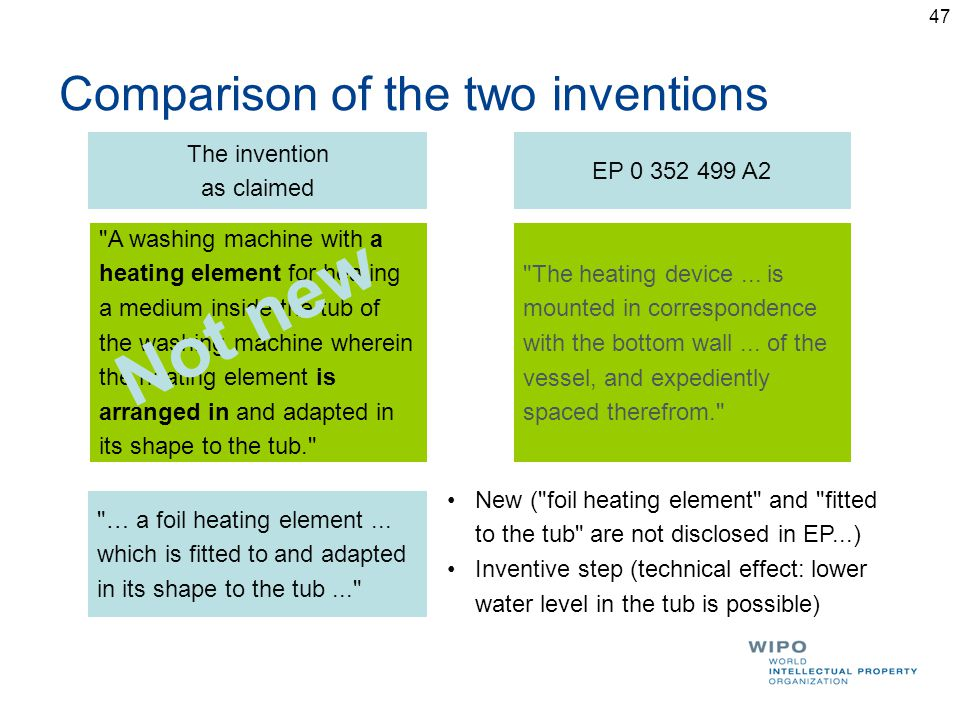 Comparison of the two inventions The invention as claimed EP 0 352 499 A2 A washing machine with a heating element for heating a medium inside the tub of the washing machine wherein the heating element is arranged in and adapted in its shape to the tub. The heating device...