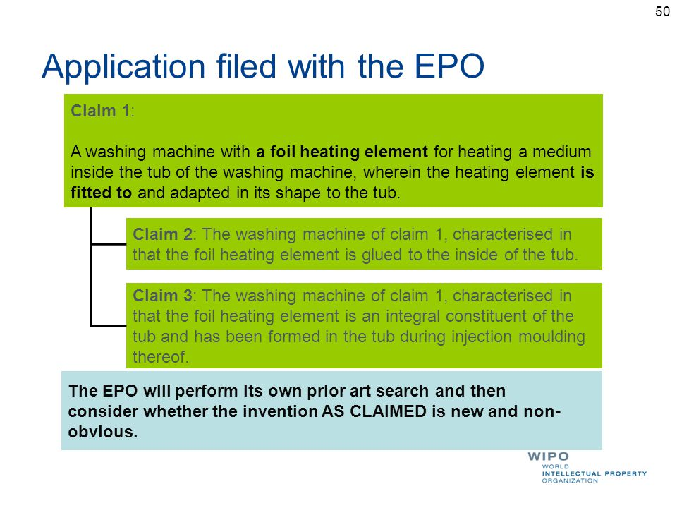 Application filed with the EPO Claim 2: The washing machine of claim 1, characterised in that the foil heating element is glued to the inside of the tub.