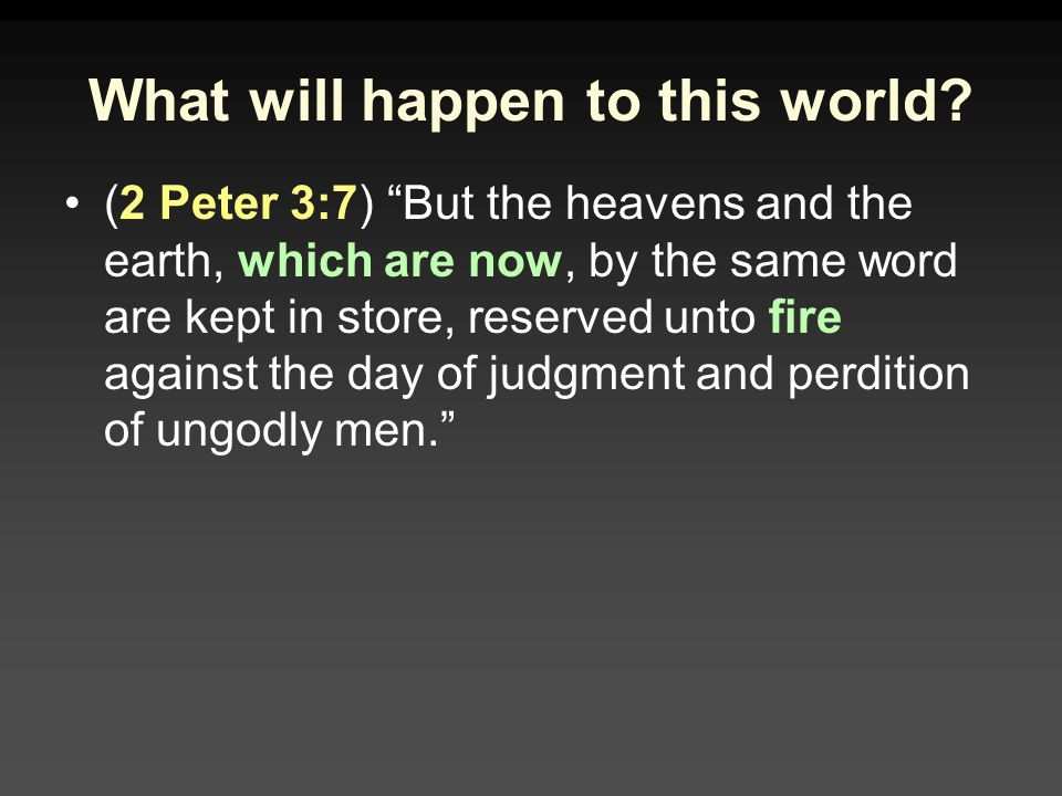 What will happen to this world.