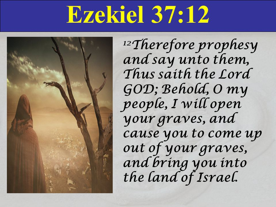 Ezekiel 37:12 12 Therefore prophesy and say unto them, Thus saith the Lord GOD; Behold, O my people, I will open your graves, and cause you to come up out of your graves, and bring you into the land of Israel.