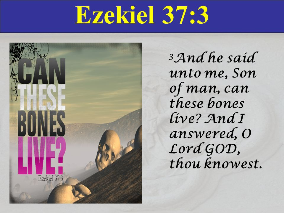 Ezekiel 37:3 3 And he said unto me, Son of man, can these bones live.