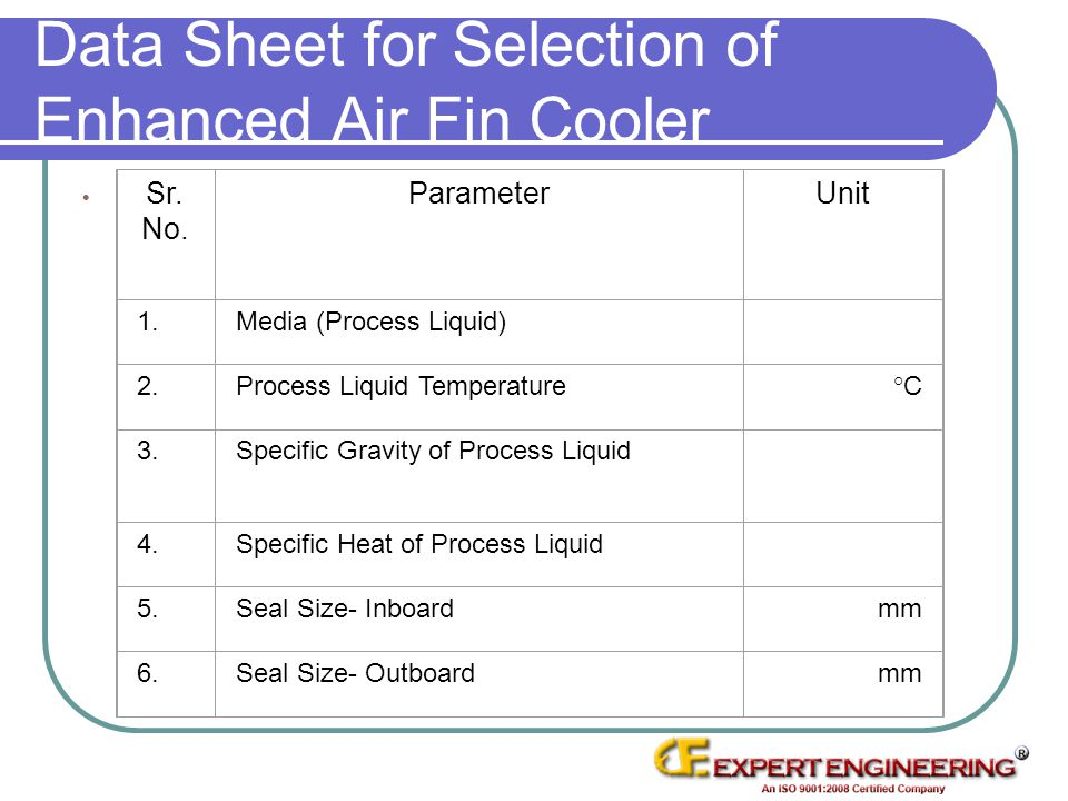 Data Sheet for Selection of Enhanced Air Fin Cooler Sr. No. ParameterUnit 1.Media (Process Liquid) 2.Process Liquid Temperature°C 3.Specific Gravity o
