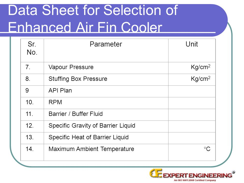Data Sheet for Selection of Enhanced Air Fin Cooler Sr. No. ParameterUnit 7.Vapour PressureKg/cm 2 8.Stuffing Box PressureKg/cm 2 9API Plan 10.RPM 11.