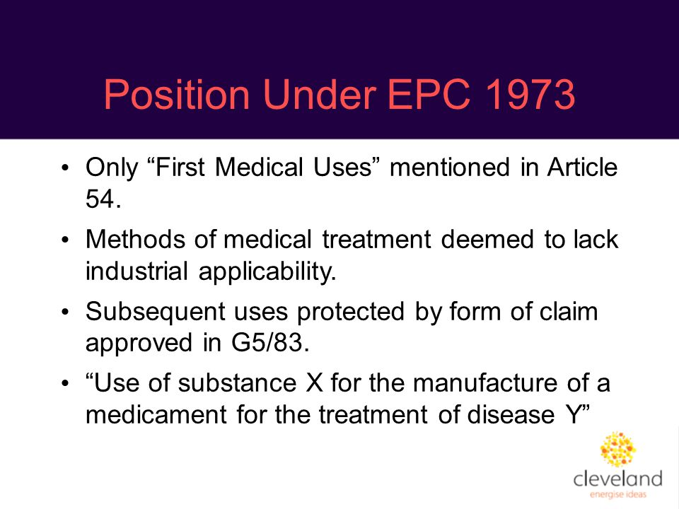 Position Under EPC 1973 Only First Medical Uses mentioned in Article 54.