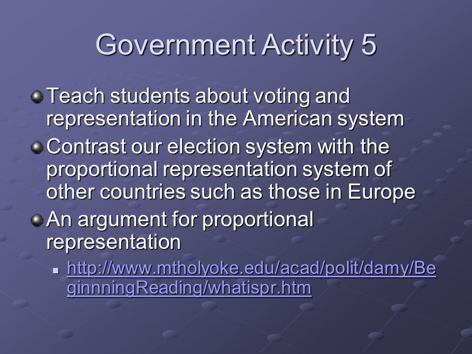 Government Activity 5 Teach students about voting and representation in the American system Contrast our election system with the proportional representation system of other countries such as those in Europe An argument for proportional representation http://www.mtholyoke.edu/acad/polit/damy/Be ginnningReading/whatispr.htm http://www.mtholyoke.edu/acad/polit/damy/Be ginnningReading/whatispr.htm http://www.mtholyoke.edu/acad/polit/damy/Be ginnningReading/whatispr.htm http://www.mtholyoke.edu/acad/polit/damy/Be ginnningReading/whatispr.htm
