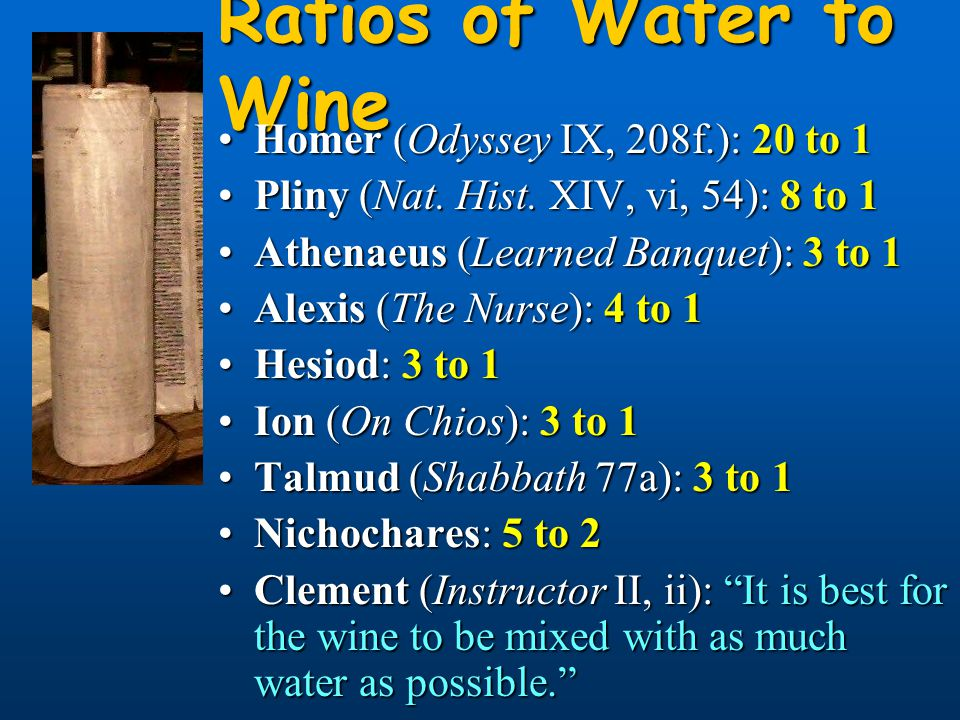 Ratios of Water to Wine Homer (Odyssey IX, 208f.): 20 to 1Homer (Odyssey IX, 208f.): 20 to 1 Pliny (Nat. Hist. XIV, vi, 54): 8 to 1Pliny (Nat. Hist. X