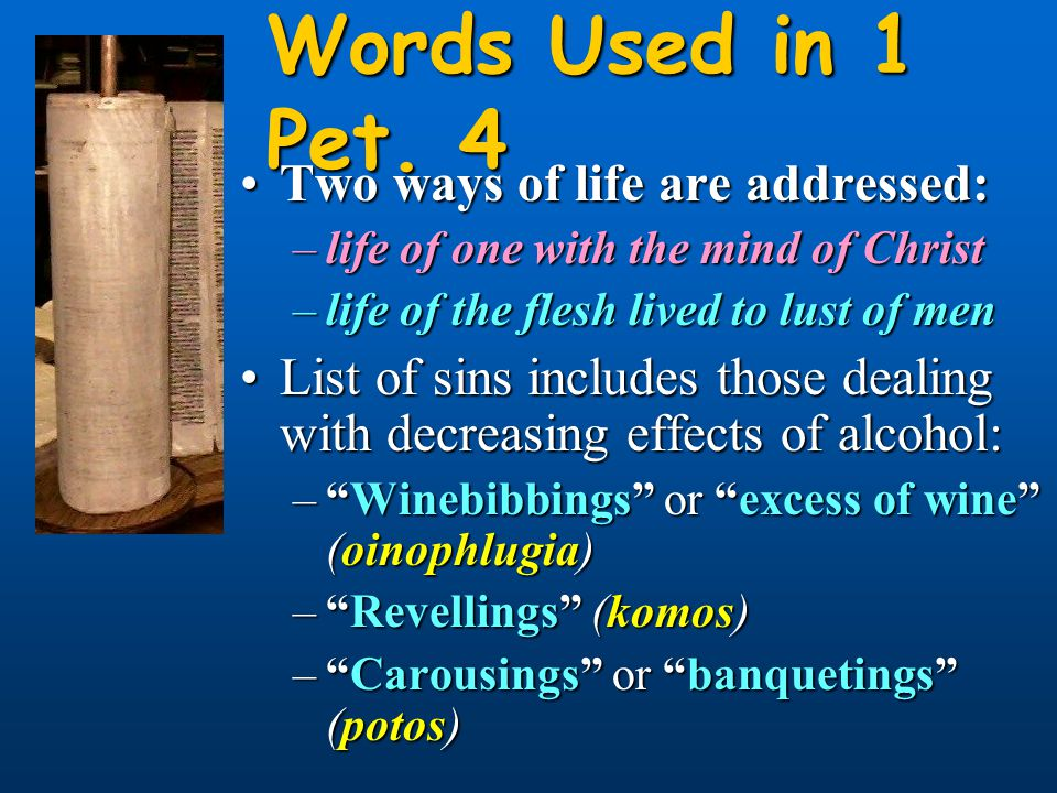 Words Used in 1 Pet. 4 Two ways of life are addressed:Two ways of life are addressed: –life of one with the mind of Christ –life of the flesh lived to