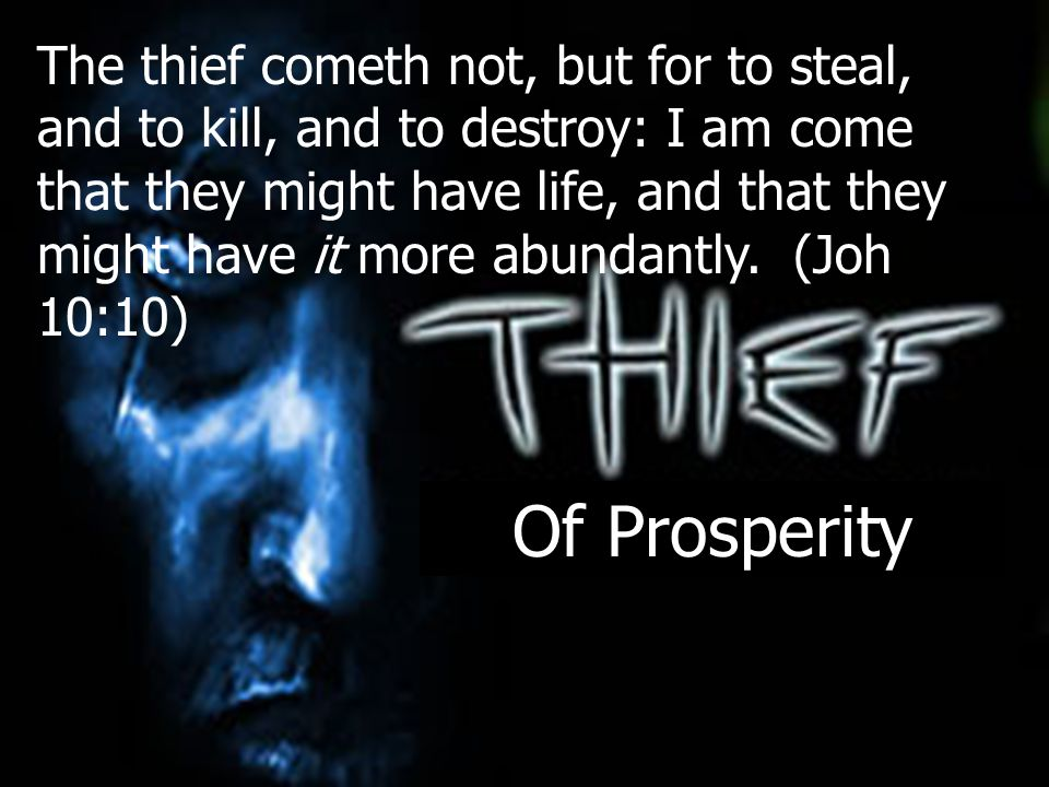 Of Prosperity The thief cometh not, but for to steal, and to kill, and to destroy: I am come that they might have life, and that they might have it mo