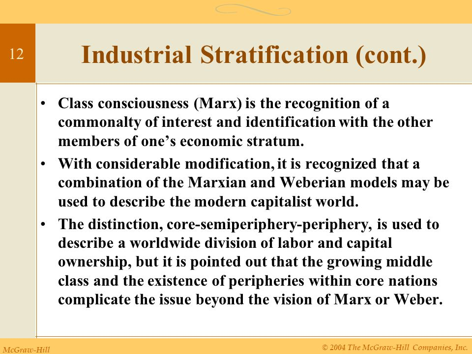 McGraw-Hill © 2004 The McGraw-Hill Companies, Inc. 12 Industrial Stratification (cont.) Class consciousness (Marx) is the recognition of a commonalty