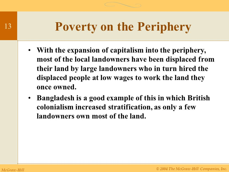 McGraw-Hill © 2004 The McGraw-Hill Companies, Inc. 13 Poverty on the Periphery With the expansion of capitalism into the periphery, most of the local