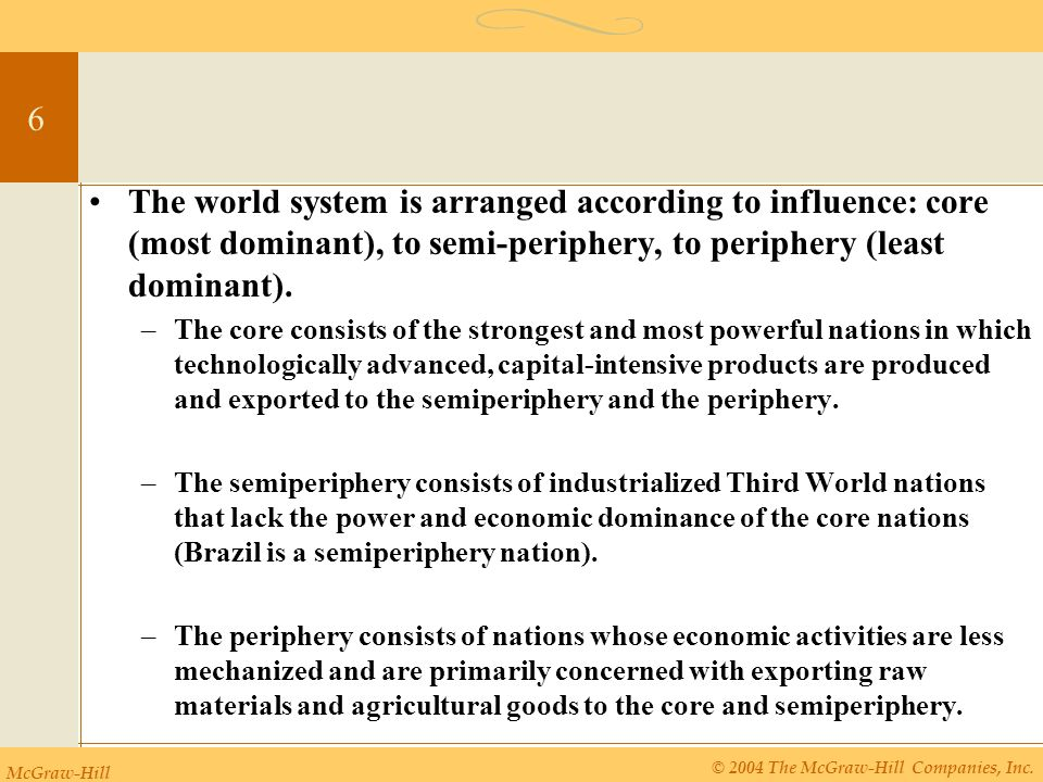 McGraw-Hill © 2004 The McGraw-Hill Companies, Inc. 6 The world system is arranged according to influence: core (most dominant), to semi-periphery, to