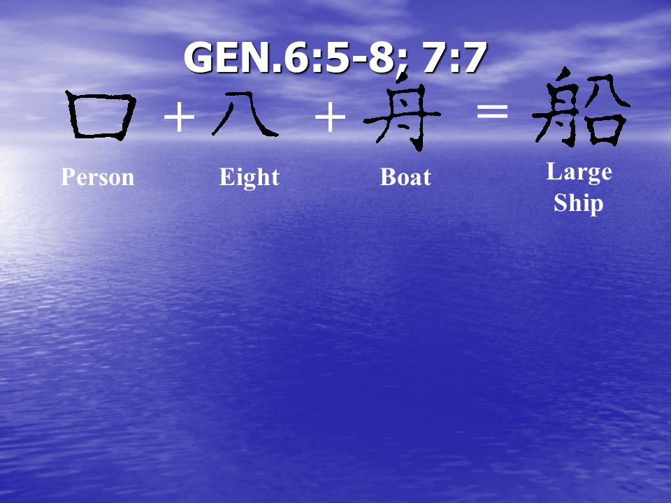 GEN.6:5-8; 7:7 ++ = Boat Large Ship PersonEight
