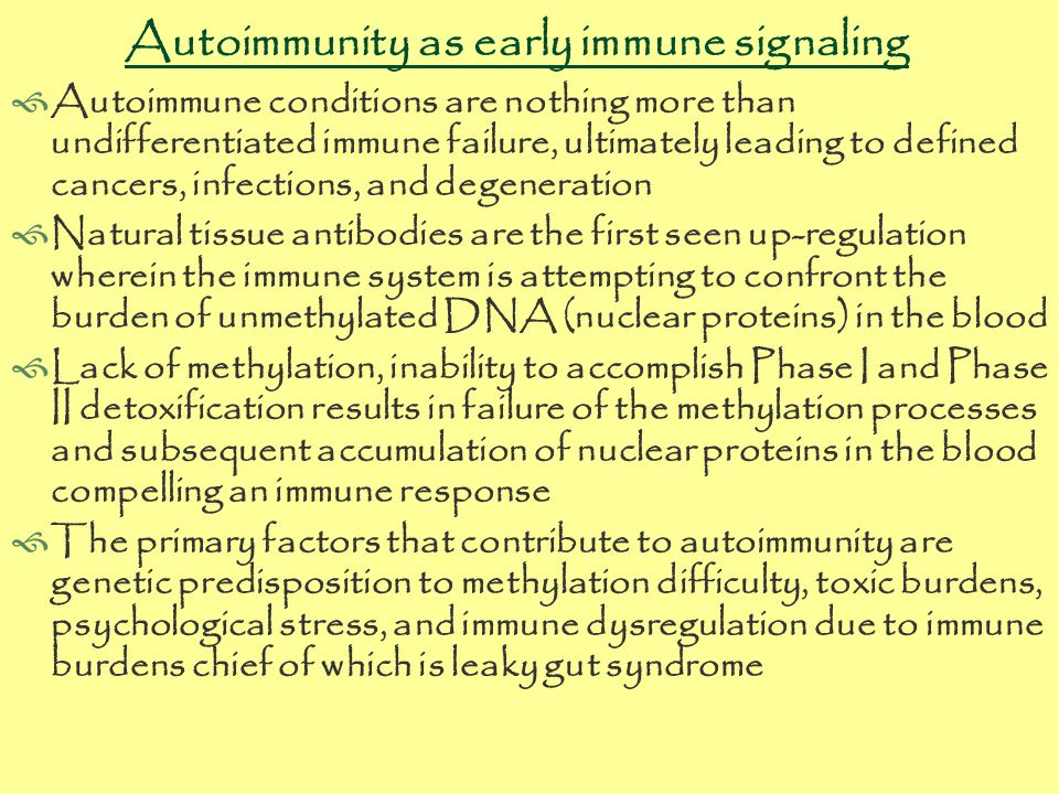 Autoimmunity as early immune signaling  Autoimmune conditions are nothing more than undifferentiated immune failure, ultimately leading to defined cancers, infections, and degeneration  Natural tissue antibodies are the first seen up-regulation wherein the immune system is attempting to confront the burden of unmethylated DNA (nuclear proteins) in the blood  Lack of methylation, inability to accomplish Phase I and Phase II detoxification results in failure of the methylation processes and subsequent accumulation of nuclear proteins in the blood compelling an immune response  The primary factors that contribute to autoimmunity are genetic predisposition to methylation difficulty, toxic burdens, psychological stress, and immune dysregulation due to immune burdens chief of which is leaky gut syndrome