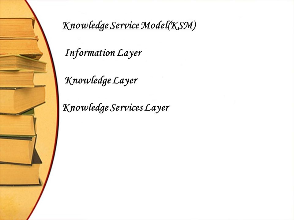 Knowledge Service Model(KSM) Information Layer Knowledge Layer Knowledge Services Layer