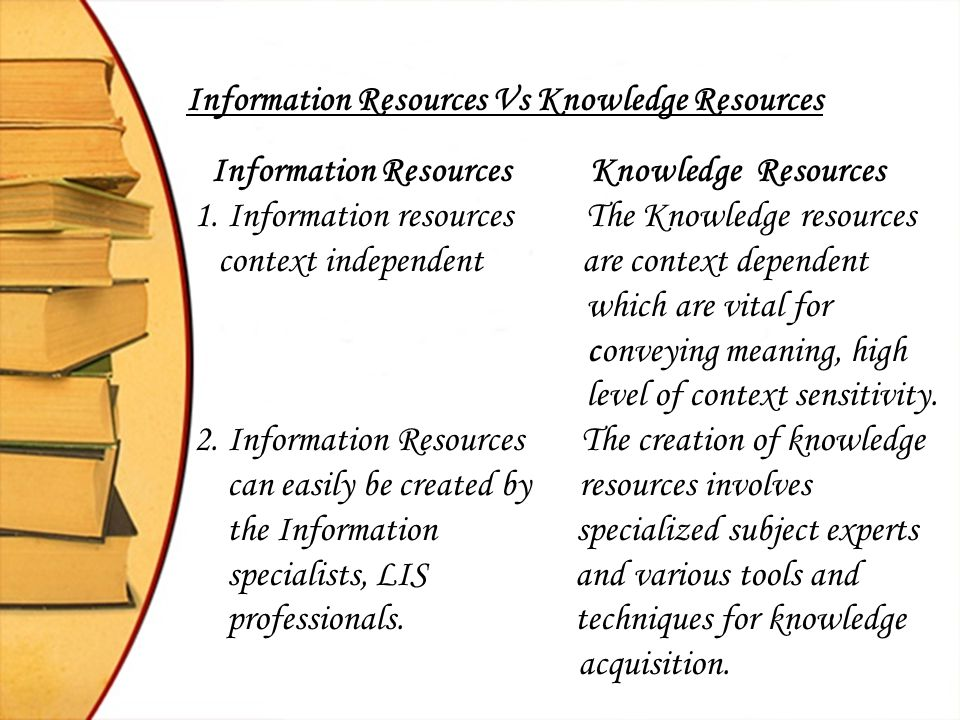 Information Resources Vs Knowledge Resources Information Resources Knowledge Resources 1. Information resources The Knowledge resources context indepe