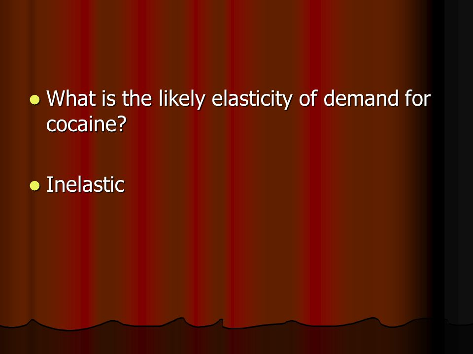 What is the likely elasticity of demand for cocaine.