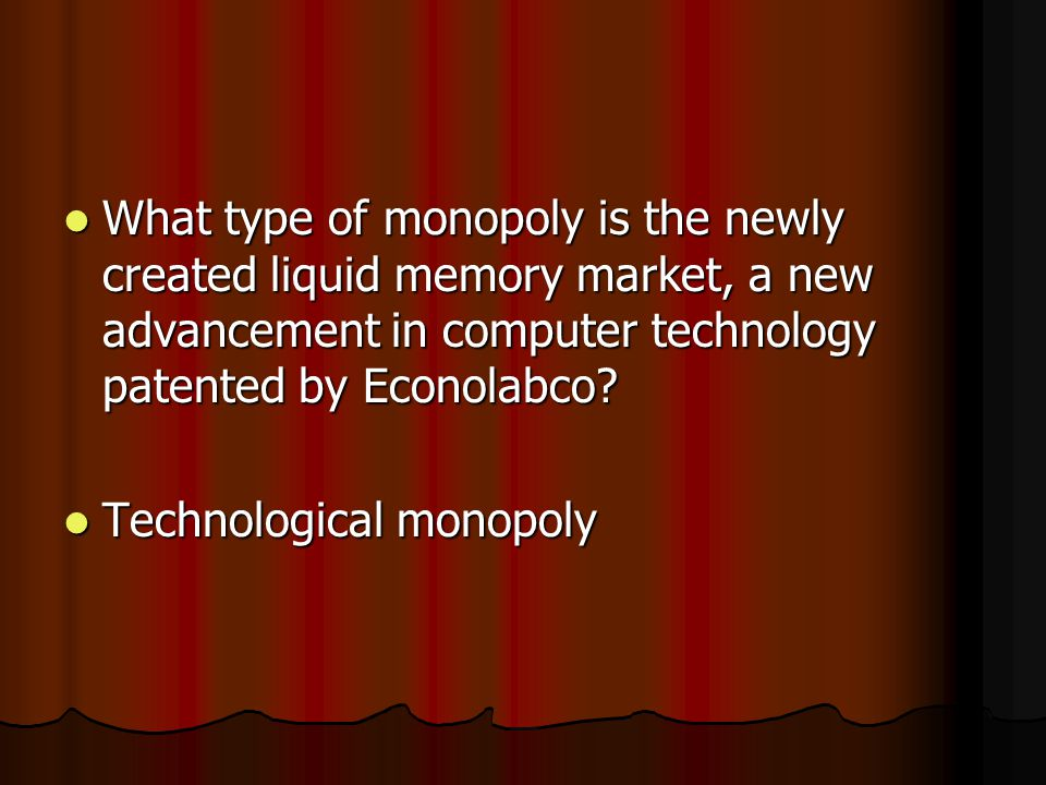 What type of monopoly is the newly created liquid memory market, a new advancement in computer technology patented by Econolabco.
