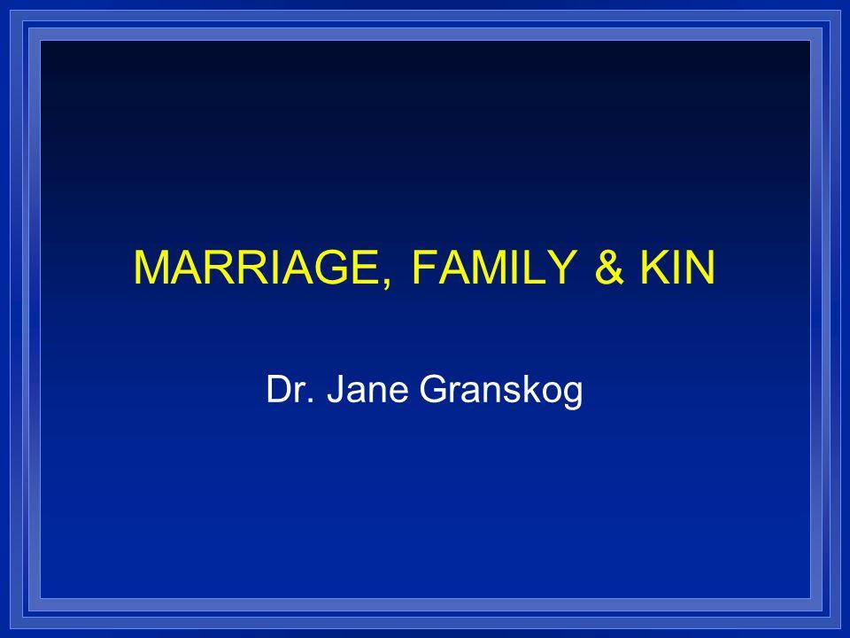 MARRIAGE, FAMILY & KIN Dr. Jane Granskog