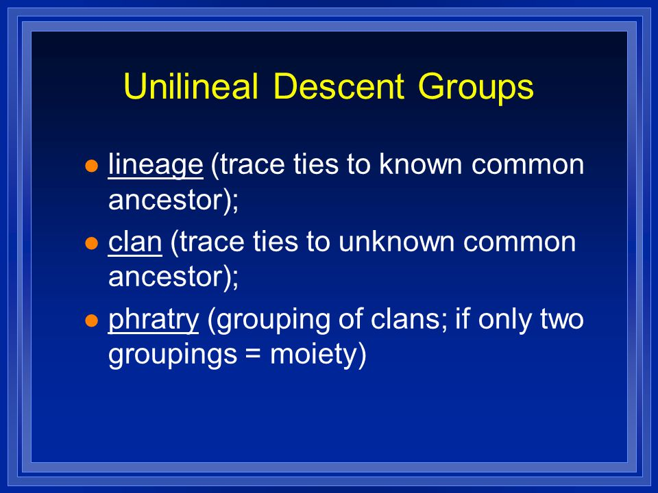 Unilineal Descent Groups lineage (trace ties to known common ancestor); clan (trace ties to unknown common ancestor); phratry (grouping of clans; if only two groupings = moiety)