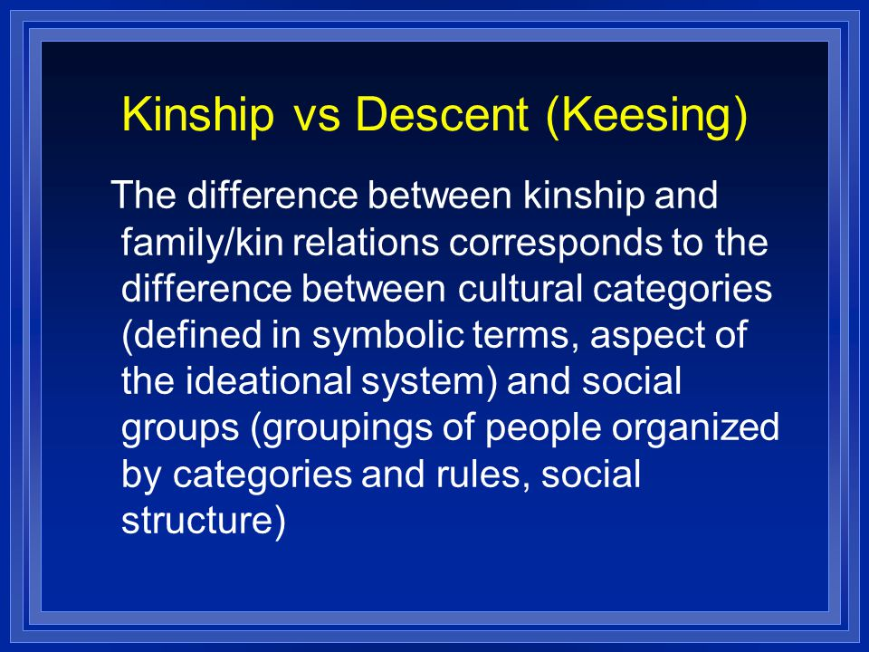 Kinship vs Descent (Keesing) The difference between kinship and family/kin relations corresponds to the difference between cultural categories (defined in symbolic terms, aspect of the ideational system) and social groups (groupings of people organized by categories and rules, social structure)