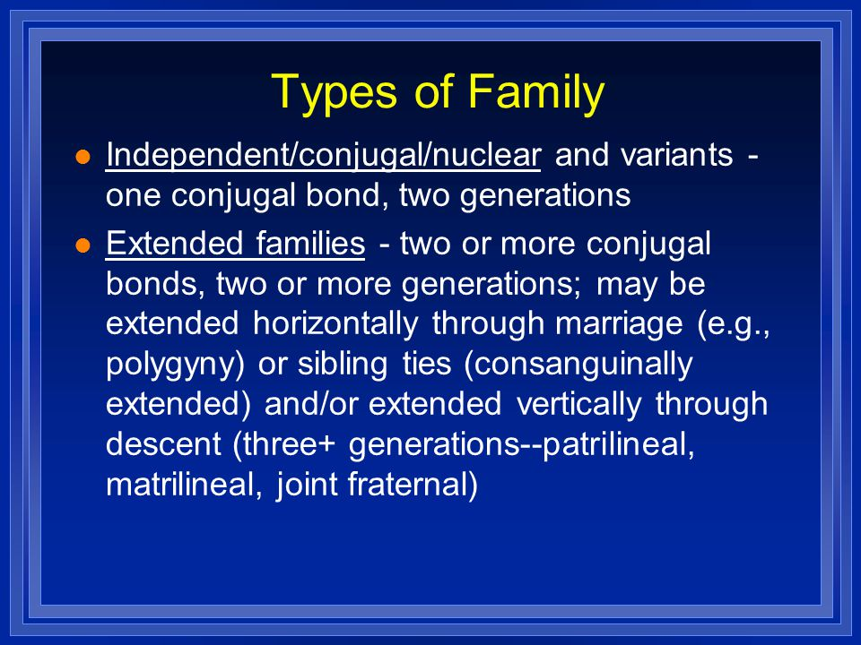 Types of Family Independent/conjugal/nuclear and variants - one conjugal bond, two generations Extended families - two or more conjugal bonds, two or