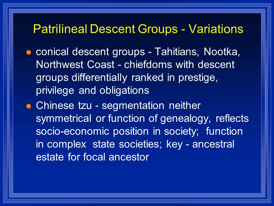 Patrilineal Descent Groups - Variations conical descent groups - Tahitians, Nootka, Northwest Coast - chiefdoms with descent groups differentially ranked in prestige, privilege and obligations Chinese tzu - segmentation neither symmetrical or function of genealogy, reflects socio-economic position in society; function in complex state societies; key - ancestral estate for focal ancestor